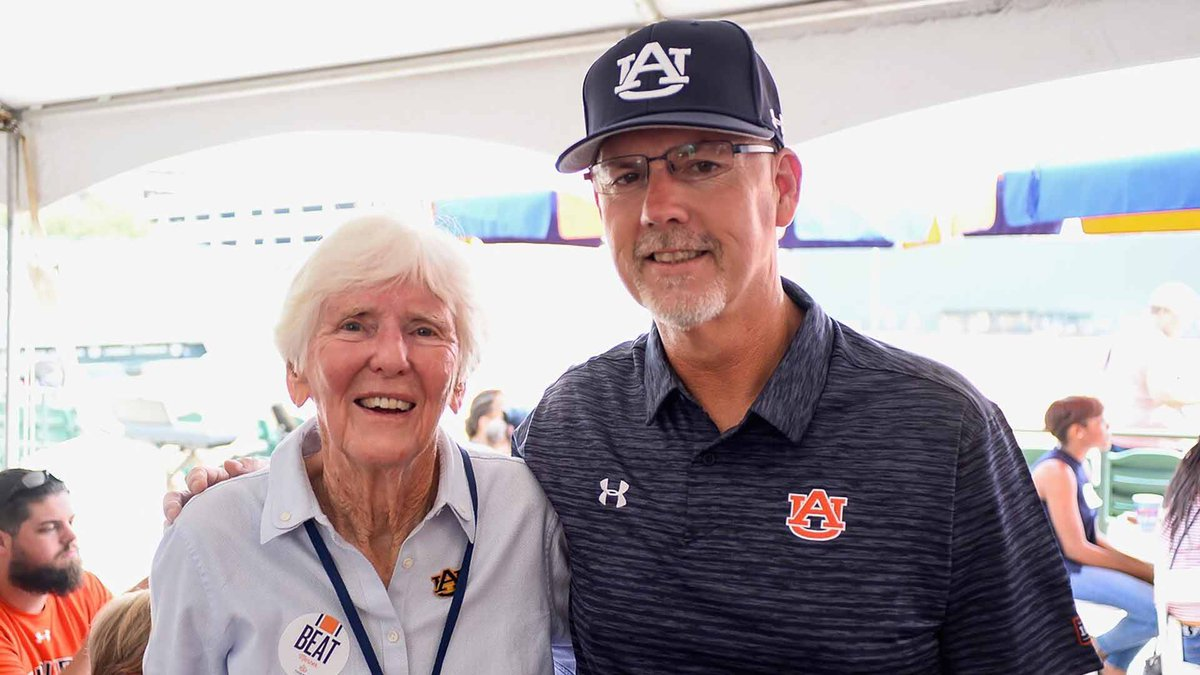 Dr. Jane B. Moore, a pioneer in Auburn athletics is shown here with Auburn softball coach...