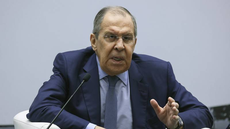 In this photo provided by the Russian Foreign Ministry Press Service, Russian Foreign Minister...