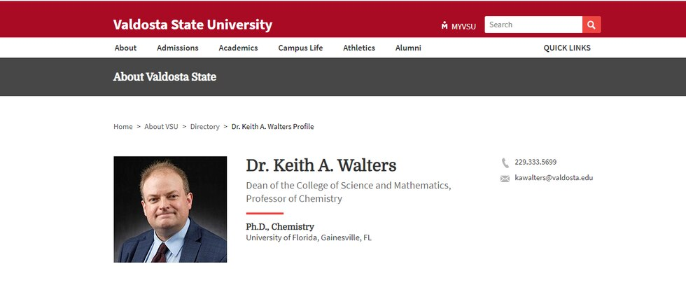Dr. Keith Walters was listed as VSU's dean of the College of Science and Mathematics on the...