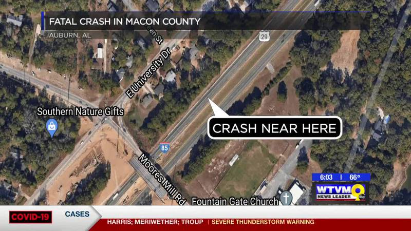 18-year-old dies in single-vehicle crash on I-85 in Macon Co.