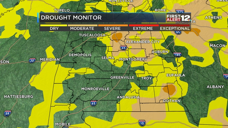 An updated drought map shows what parts of Alabama have seen the driest conditions.