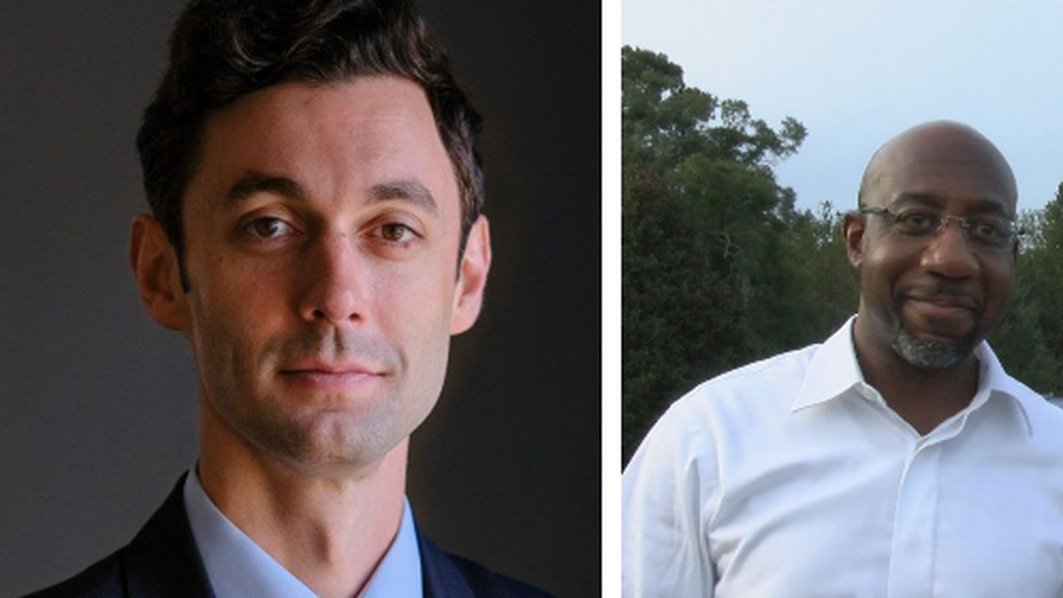 Georgia senatorial candidates Jon Ossoff (L) and Rev. Raphael Warnock (R)