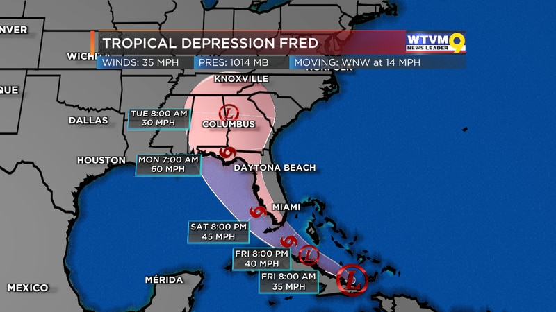 Fred Now a Tropical Depression