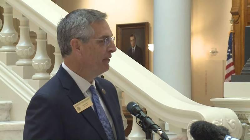Secretary of State Brad Raffensberger speaks to the public.