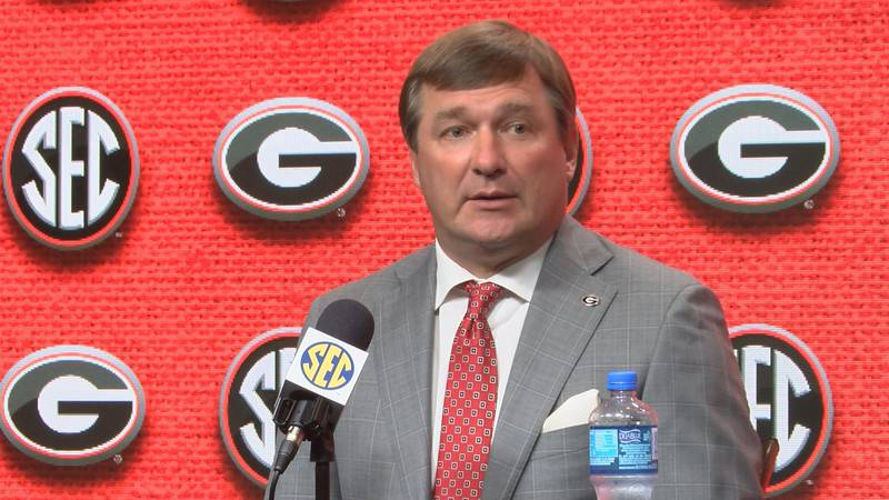 Georgia head football coach Kirby Smart speaks with media at 2019 SEC Media Days.