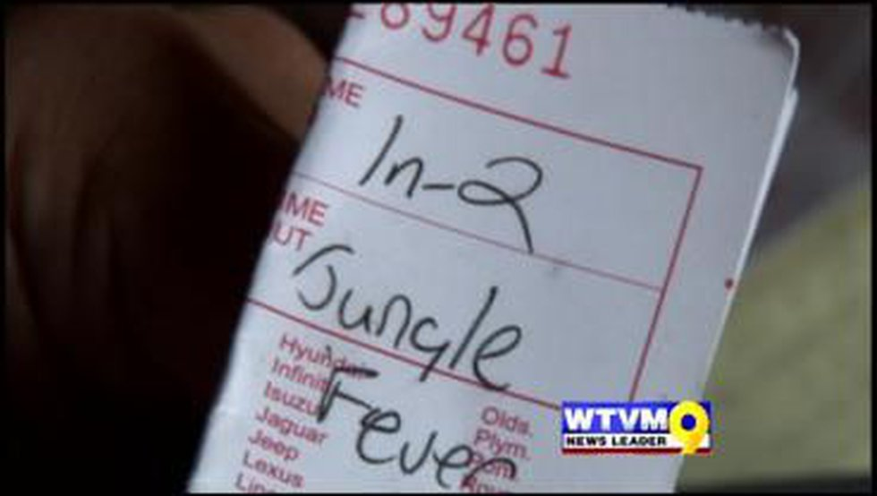 """The couple was shocked to see the words """"Jungle Fever"""" written on their valet ticket."""