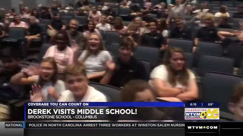 Derek Visits Brookstone's Middle School Students!