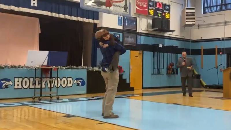Will Parker surprised his son, Keaton, at the Hollywood School Christmas Program.