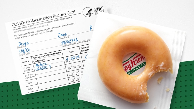 Krispy Kreme is offering free doughnuts to vaccinated customers.