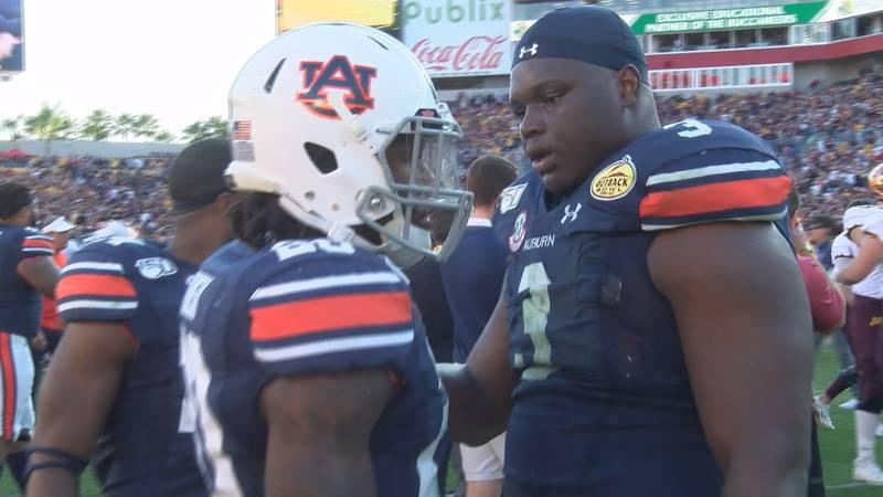 Auburn defensive linemen Marlon Davidson and Derrick Brown.
