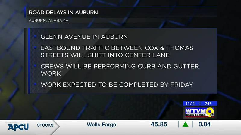 Glenn Ave. lane closures planned in Auburn this week