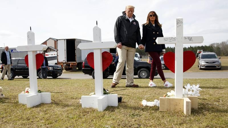 President Donald Trump and first lady Melania Trump visit crosses at Providence Baptist Church...