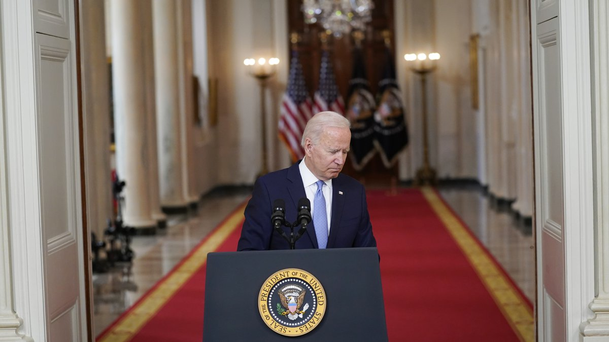 President Joe Biden speaks about the end of the war in Afghanistan from the State Dining Room...