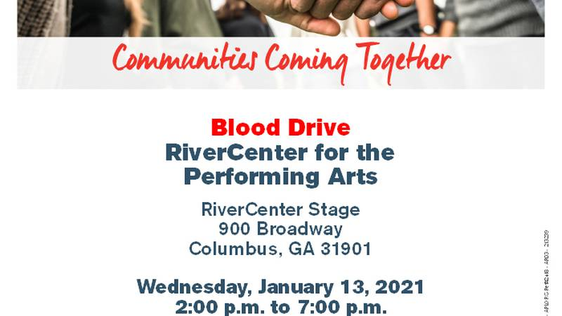 The Columbus RiverCenter is hosting a Blood Drive on Wednesday, January 13, 2021