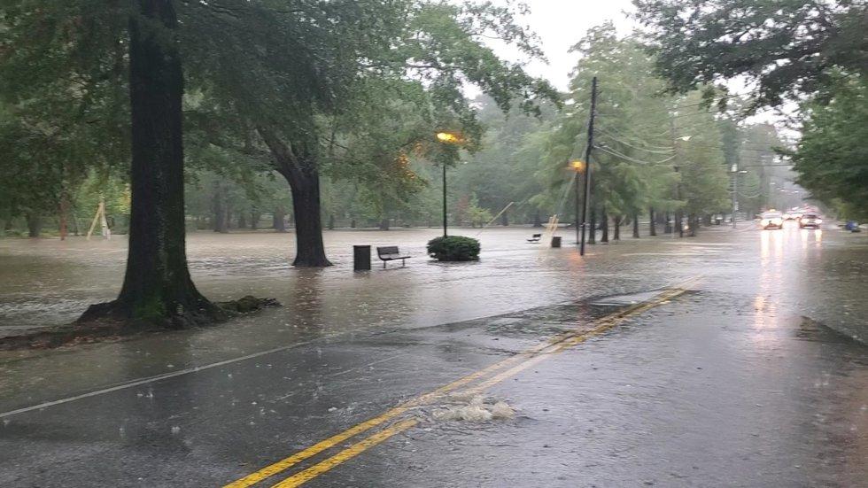 Local park underwater, roadway deemed impassable due to heavy downpour