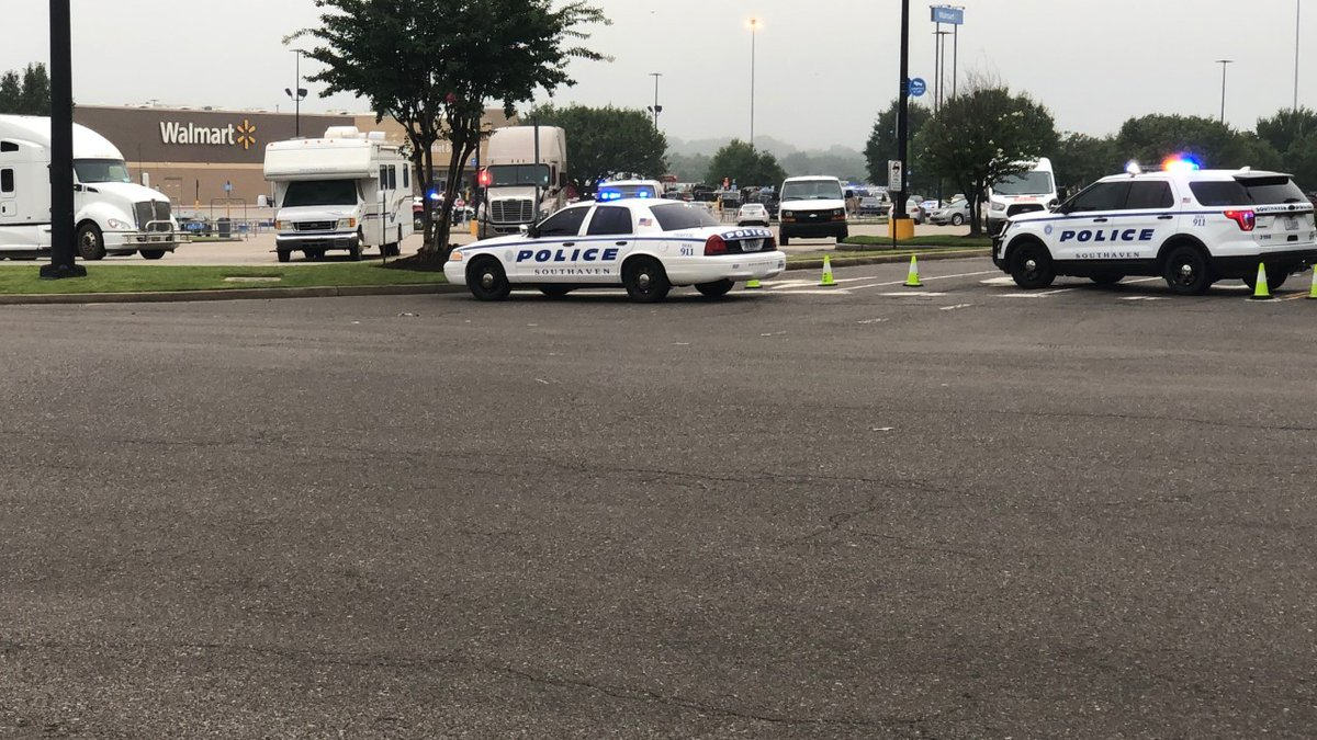 Police outside Walmart in Southaven. (Source: WMC Action News 5)