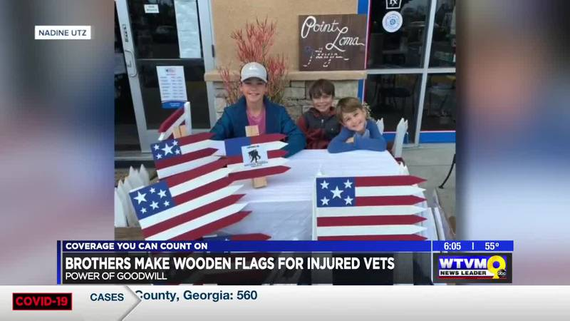 Power of Goodwill: Brothers make wooden flags for injured vets