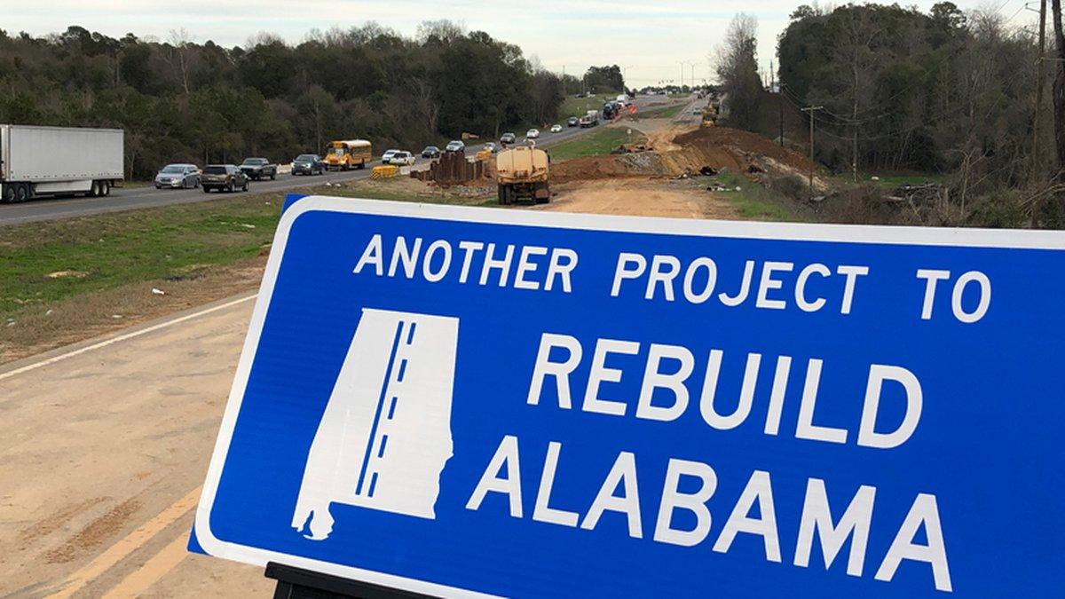 A Rebuild Alabama sign sits at a construction site along U.S. 82 and U.S. 31 in Prattville.