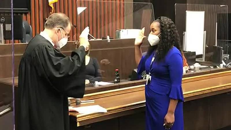 Interim District Attorney takes oath after DA Mark Jones suspended