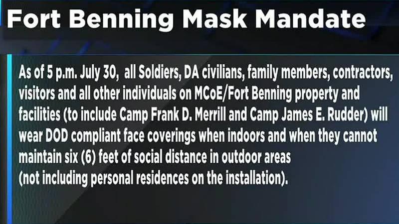 Fort Benning implements mask mandate