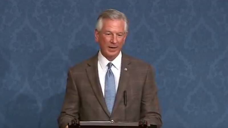 Sen. Tommy Tuberville speaks on the Senate floor to honor the memories of 10 people killed in a...
