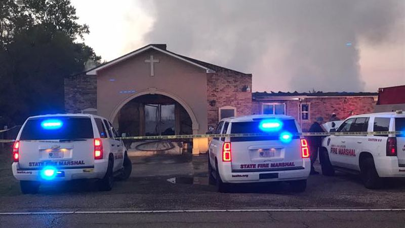 St. Landry Parish firefighters respond to a blaze at the Greater Union Baptist Church on...