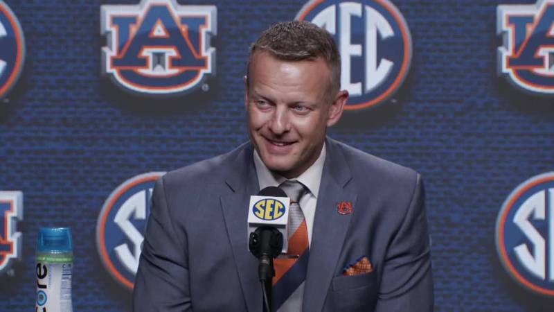 Coach Bryan Harsin answers reporter questions at his first SEC Media Days. Auburn University...