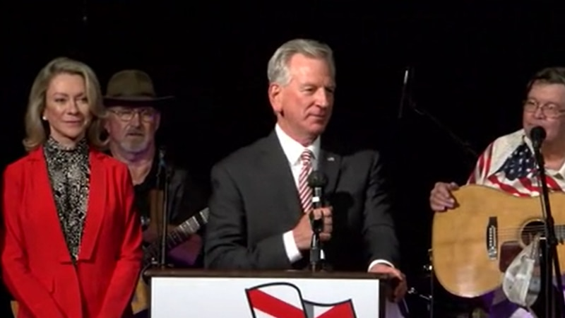 Tommy Tuberville addresses his campaign party in Montgomery, Alabama, after winning the winner...