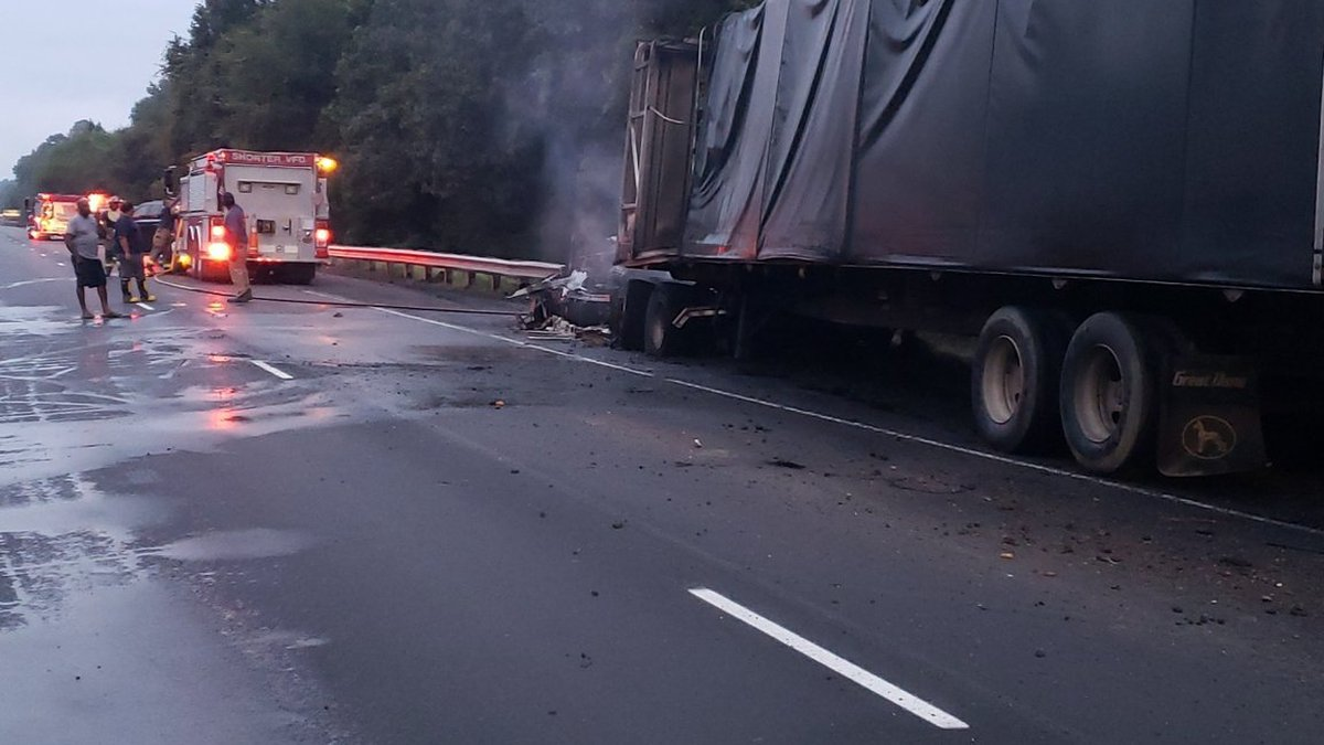 I-85 southbound near Shorter, tractor-trailer fire.