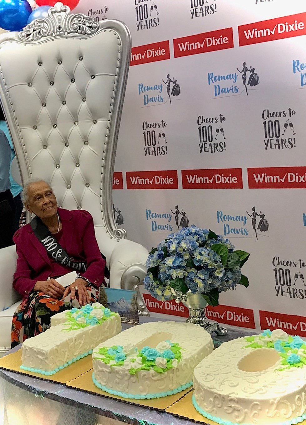 Montgomery Winn-Dixie employee Romay Davis is celebrated by her employer on her 100th birthday.