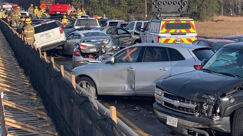 A chain-reaction crash involving dozens of vehicles has closed all lanes of Interstate 64 in...