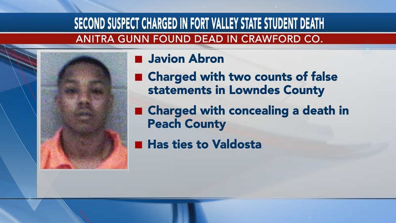 Javion Abron is the second suspect charged in connection to Anitra Green's death.
